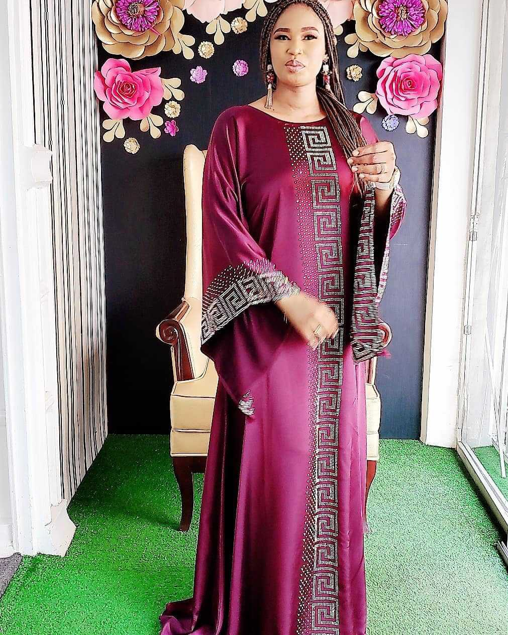 2020 Traditional Fashion Satin Silk Boubou African Women Long Maix Dresses Quality Dashiki Abaya Muslim Dresses For Women