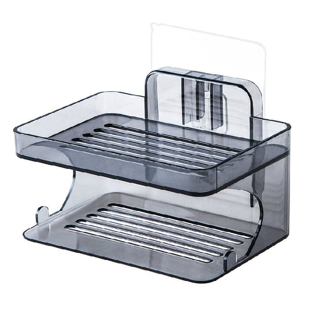 Space Saving Suction Cup Tray Bathroom Soap Dish Wall Mount Kitchen Rack Container Box Drain Sponge Home Double Layer