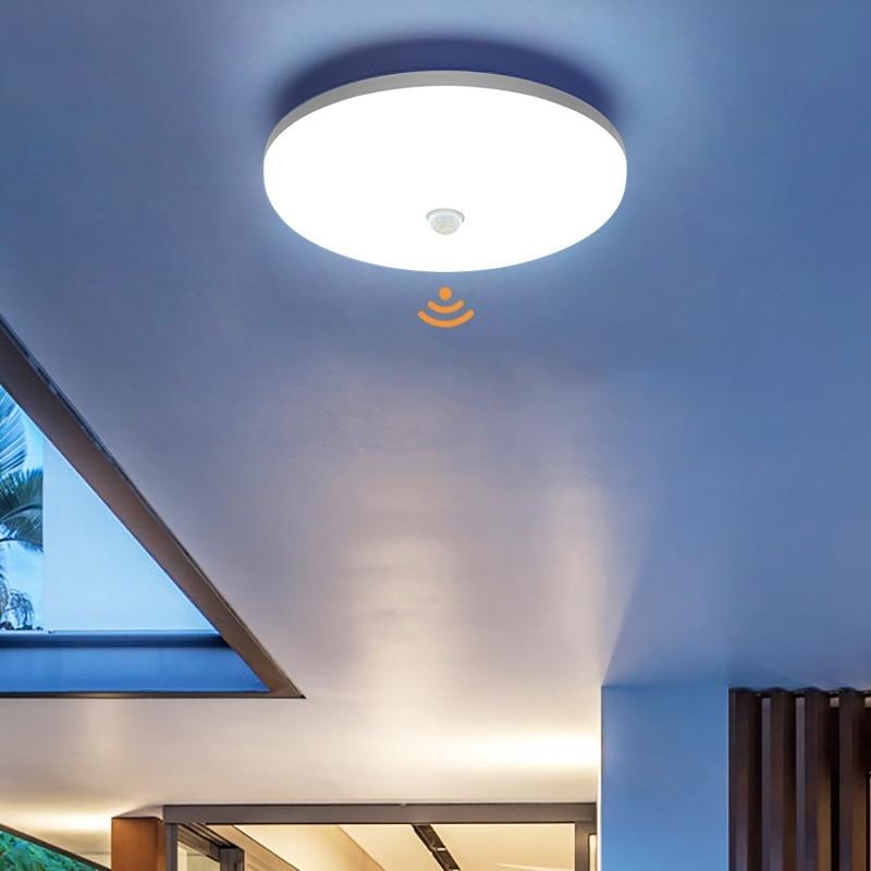 PIR Sensor LED Panel Lamp 36W 24W 18W 13W 9W Ceiling SurfaceMounted Lighting 85-265V Kitchen Bedroom Foyer Corridor CeilingLight