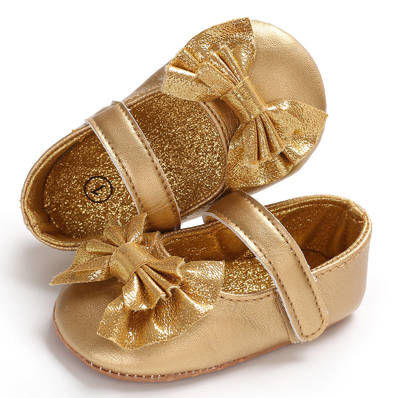 Newborn Baby Girl Sneakers Toddler Butterfly Knot Sequins Infant Princess Girls Leather Shoes Soft Bottom First Walker Golden