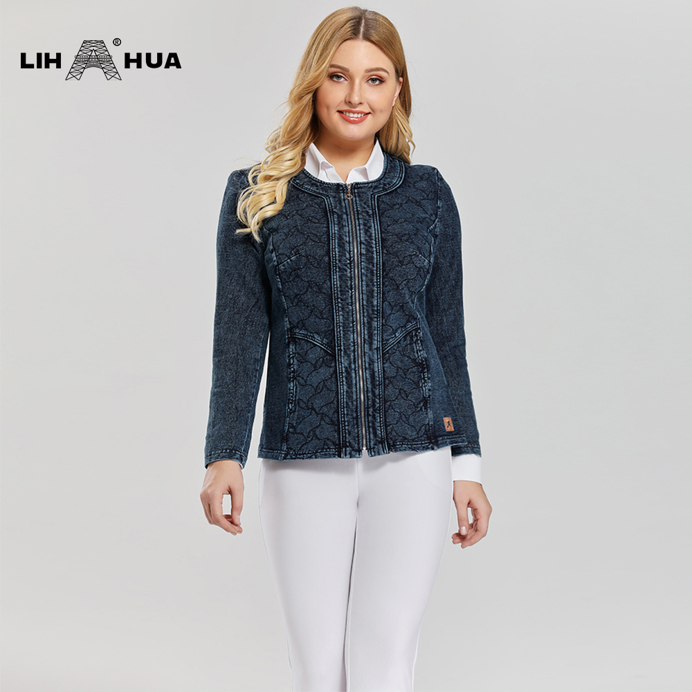 LIH HUA Women's Plus Size Casual Denim Jacket Premium Stretch Knitted Denim With Shoulder Pads