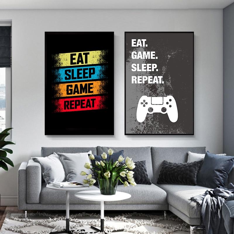 Boys bedroom decorGREY NAVYEat sleep game repeat3 x A4 printsgaming