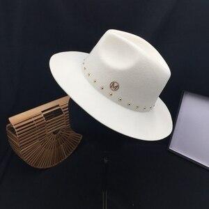 Image 5 - Edycja han standardowy biały kapelusz z wełny Fedoras nowa anglia jesienno zimowa nitowa czapka przypływ męskie kapelusze damskie