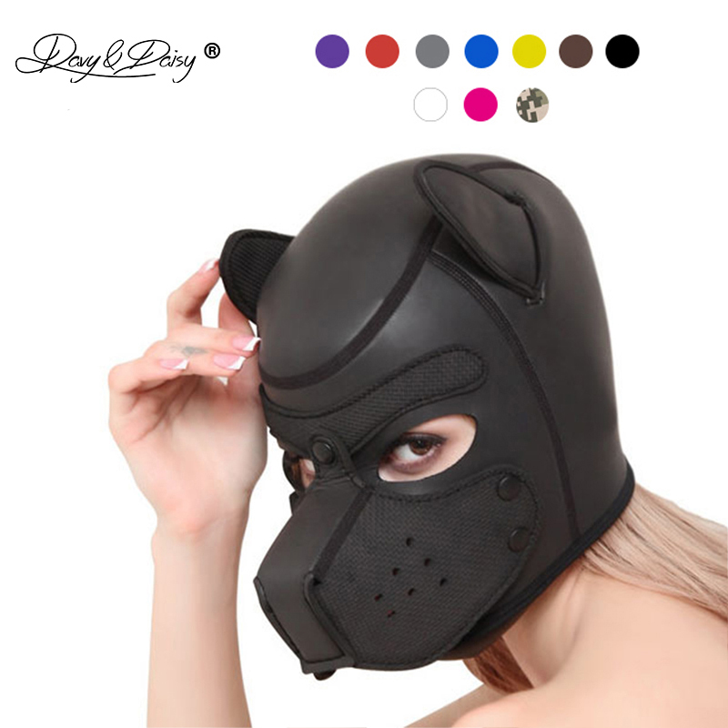 DAVYDAISY Party <font><b>Masks</b></font> Puppy Play <font><b>Dog</b></font> Hood <font><b>Mask</b></font> Padded Rubber Role Play HeadMask Cosplay Full Head Halloween <font><b>Mask</b></font> <font><b>Sex</b></font> Toy AC129 image