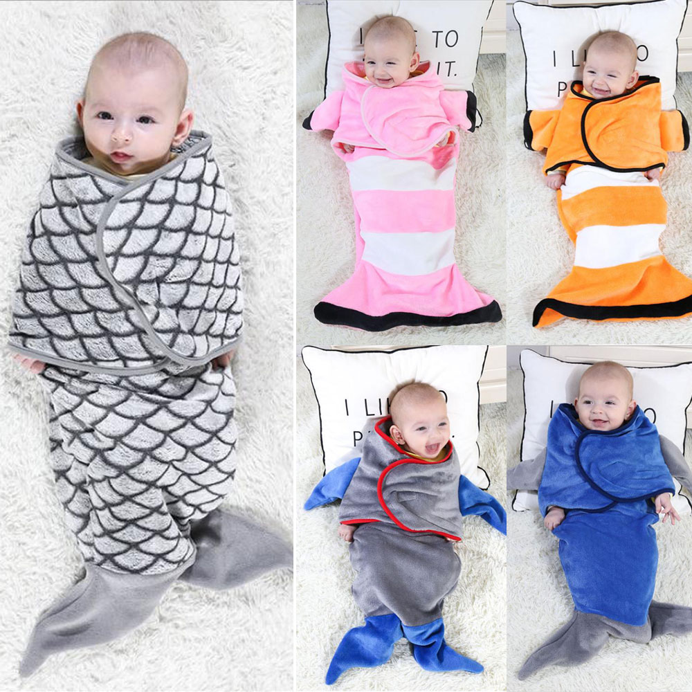 3D Fish Winter Baby Boy Girl Flannel Swaddle Toddler Infant Warm Muslin Blanket Wrap Swaddle Blanket For 0-6M