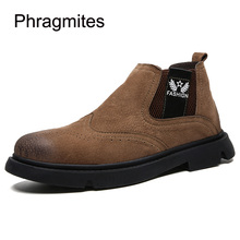 Phragmites 2019 Autumn Winter Fashion Men Boots Slip-on Comfort Wear Shoes Botas Masculina Ankle