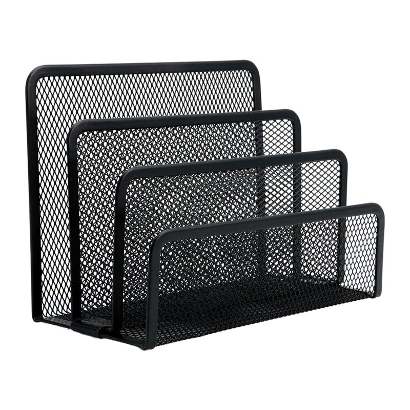 Black Mesh Letter Sorter Mail Document Desk Tray Office File Organiser Business