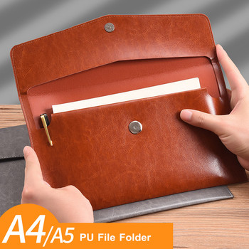 MINKYS o dużej pojemności A4 A5 PU skóra biznes Folder organizator worek do przechowywania szkolne materiały biurowe akcesoria tanie i dobre opinie 20200812056 33cm x 24cm black brown grey orange 1 x file folder Business File Folder