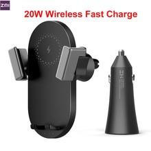 Zestawy ZMI 20W bezprzewodowa ładowarka samochodowa uchwyt telefonu WCJ10 szybkie ładowanie dla iPhone 11 Xiaomi Mi 9 Samsung 360 stopni uchwyt telefonu