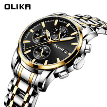 OLIKA Luxury Steel Men Quartz Watch Watch For Men Business Men Watches Luminous Waterproof Watch Men Male Watches Relogio Watch