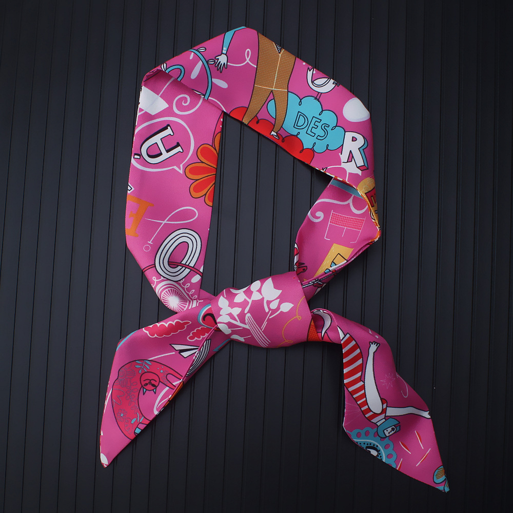 New Scarf Small Scarf National Letters Printing Wild Silk Scarf Hair Band Small Scarves Spring And Summer Long Silk Scarves