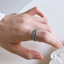 Silvology 925 Sterling Silver Handmade Weave Rings Vintage Do The Old Minimalist Korea Wide for Women Jewelry
