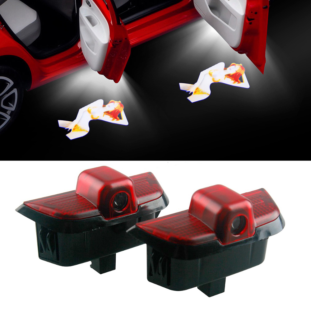 2-10 Pcs Sexy Lady Logo Car Door Laser Projector Lights Led For <font><b>Mercedes</b></font> <font><b>Benz</b></font> <font><b>W204</b></font> <font><b>C200</b></font> C230 C260 C280 C30 Emblem Welcome Light image