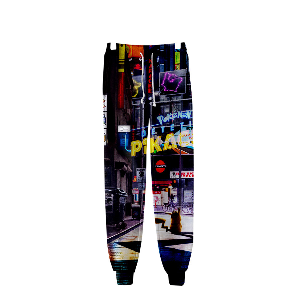Cross Border For Amazon Elf Treasure Can Dream: Detective Pikachu Digital Printing 3D Ankle Banded Pants Men And Women