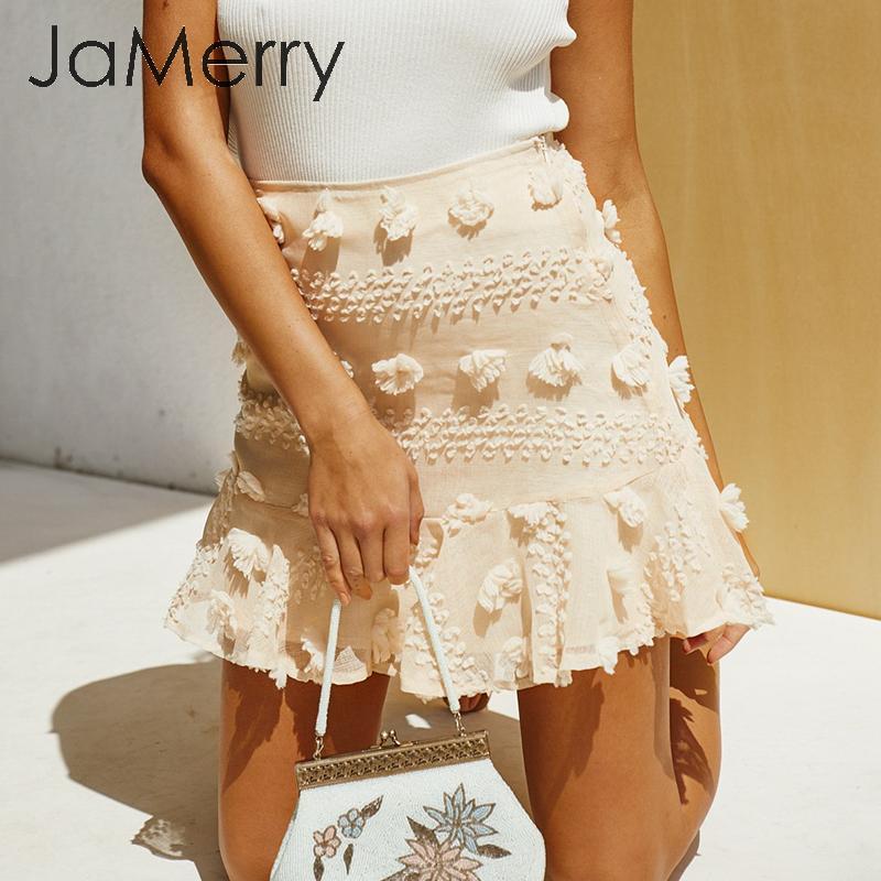 JaMerry Elegant Flower Embroidery Short Skirt Women High Wiast Summer Female Skirts A-line Ruffled Streetwear Ladies Mini Skirts