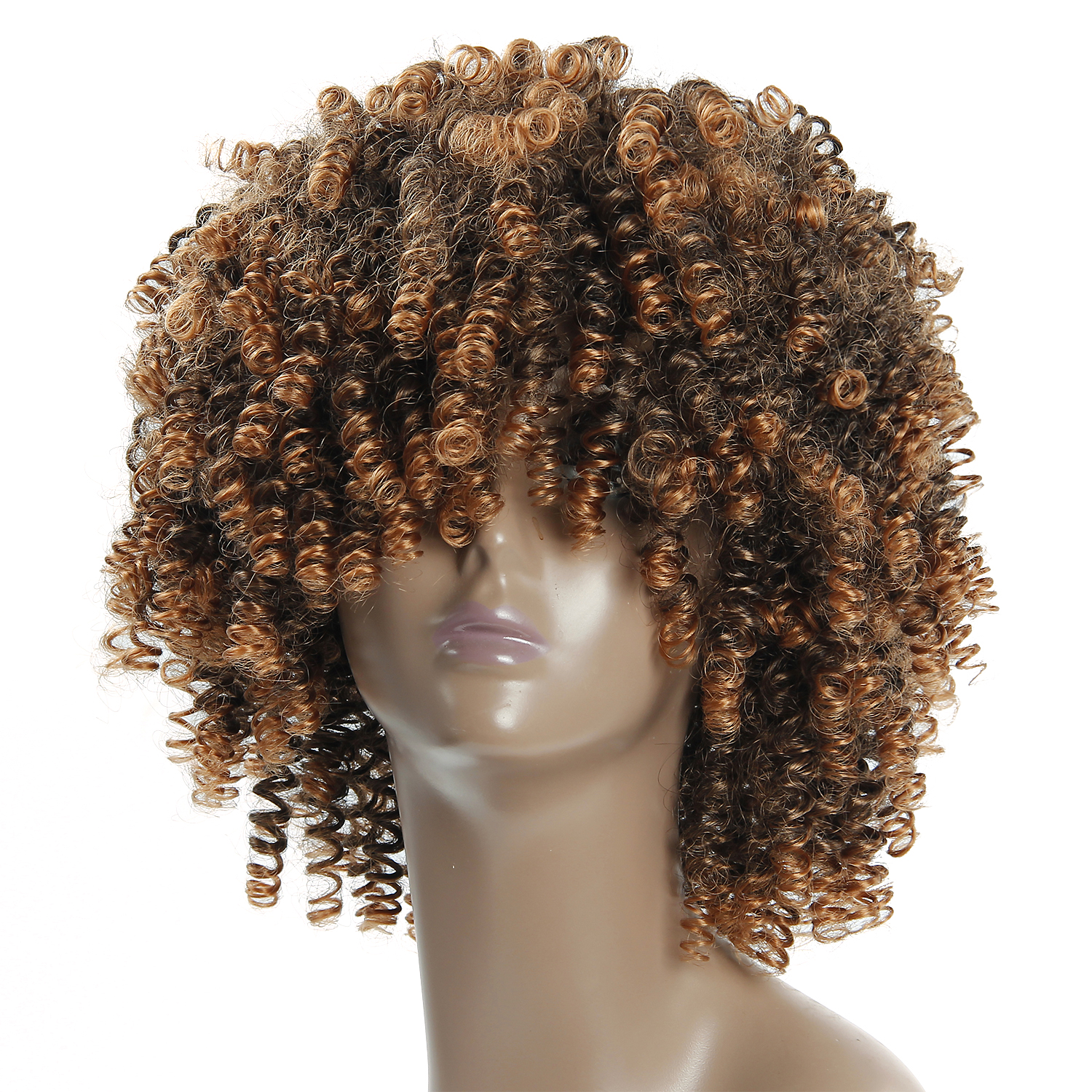 Afro Wig Hair Kinky Curly Synthetic Bangs Wig For Black Women Man Wig Brown Mixed Blonde