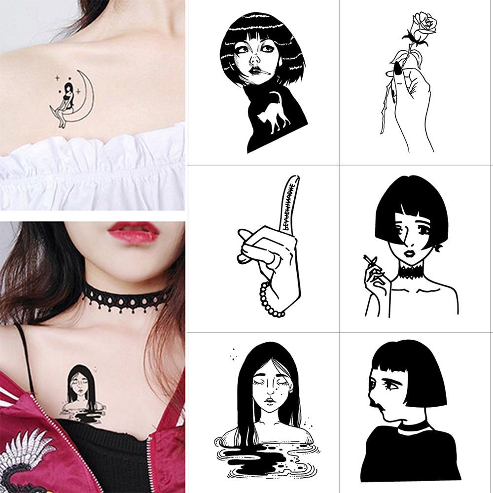 Hot 1PC New Black And White Sexy Body Art Girl Men Women Tattoo Sticker Temporary Waterproof Tattoos Sexy