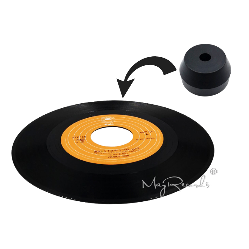 45 RPM Black Adapter Durable Solid Aluminum Center Adapter For 7 Inch Record Vinyl