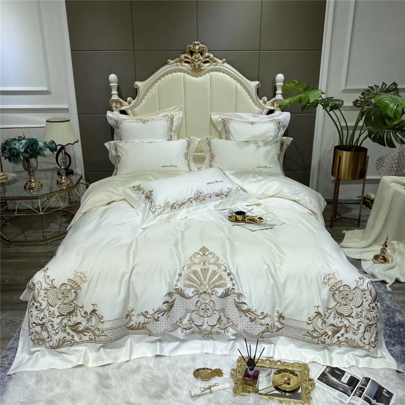 Luxury Embroidery Bedding Sets Adults Beddingset Egyptian Cotton Bed Linen Duvet Cover Bed Sheet Pillowcase 4/6pcs Bed Sets