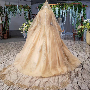 Image 2 - HTL258G muslim wedding dresses long sleeves high neck bead gold bride dress party with bridal veil robe mariage boheme