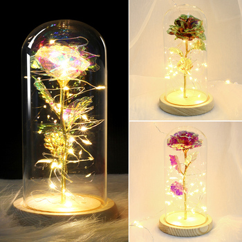 Rose Beauty and Beast Rose In Flask LED Light Valentines Day Gift Gold-plated Rose with LED Light in Glass Dome On A Wooden Base red rose with fallen petals in a glass dome on a wooden base birthday gift beauty
