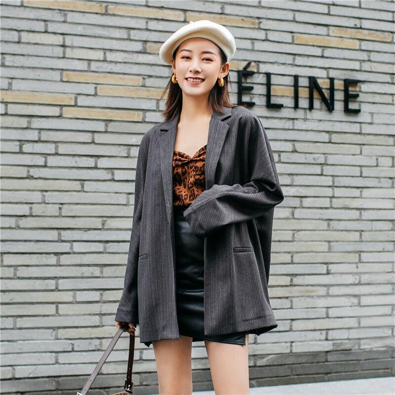 Femmes costume Blazer veste 2019 hiver et automne mode costume veste ample décontracté avec rayé femme col rabattu vêtements d'extérieur