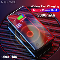 NTSPACE 5000mAh Qi Wireless Charger Power Bank For iPhone Samsung Powerbank Dual USB Charger Wireless External Battery Powerbank