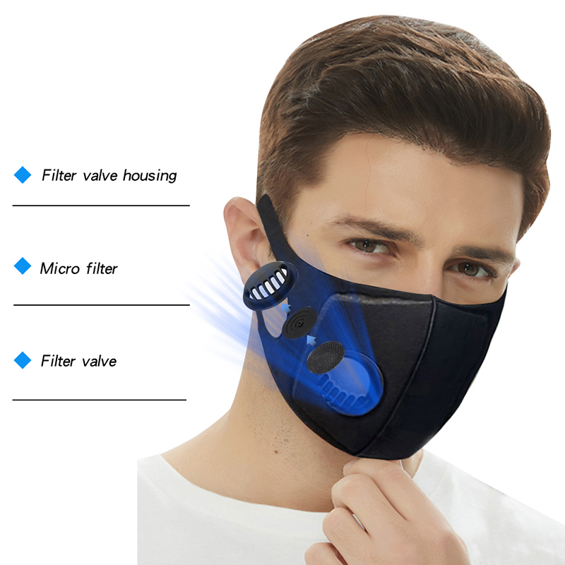 Men Anti Dust Masks Anti PM2.5 Pollution Face Mouth Respirator Breathable Valve Mask Filter 3D Mouth Cover Anti-Coronavirus