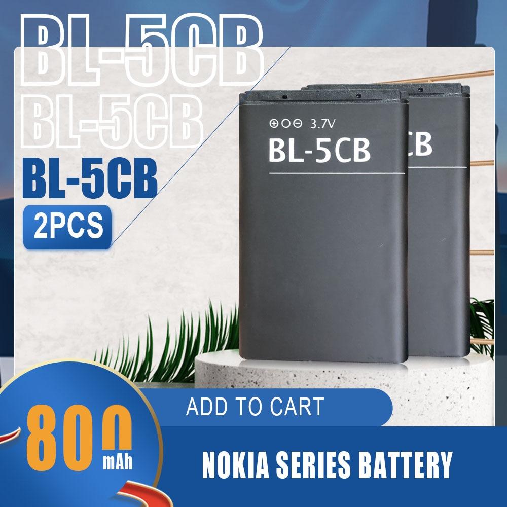 2pcs 800mah Bl-5cb Bl5cb Lithium Li-po Battery For Nokia 1616 1050 1000 1280 1800 C1-02 106 1200 3600 2135 6620 Phone Batteries