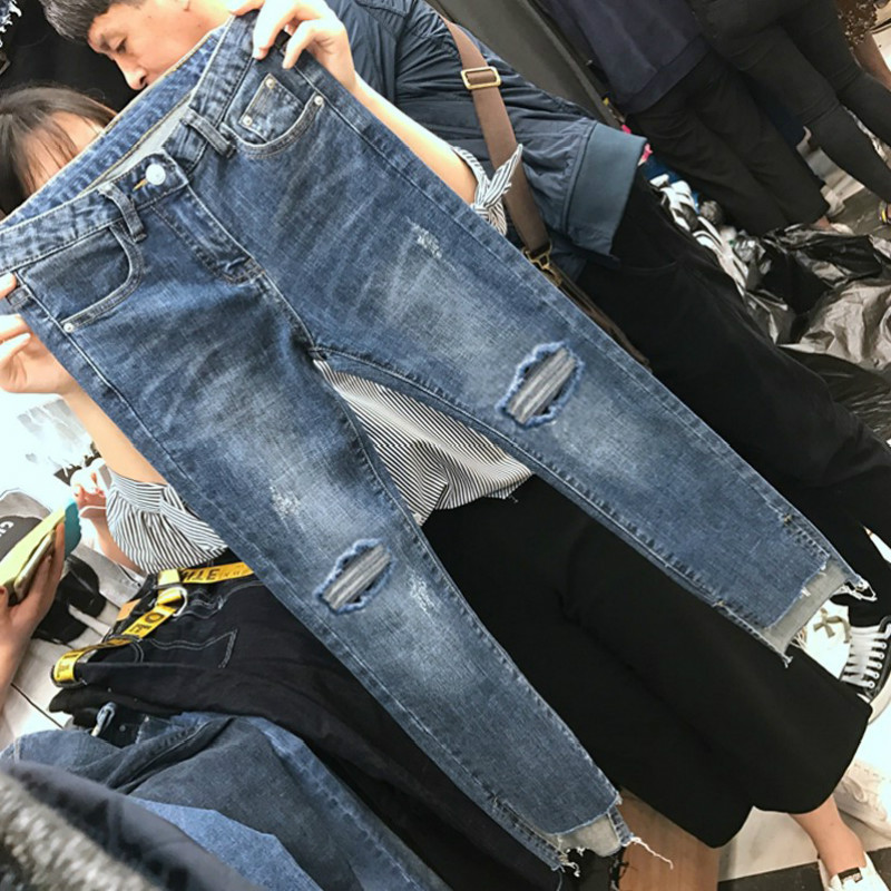 Cheap Wholesale 2019 New Spring Summer Autumn Hot Selling Women's Fashion Casual  Denim Pants BP69