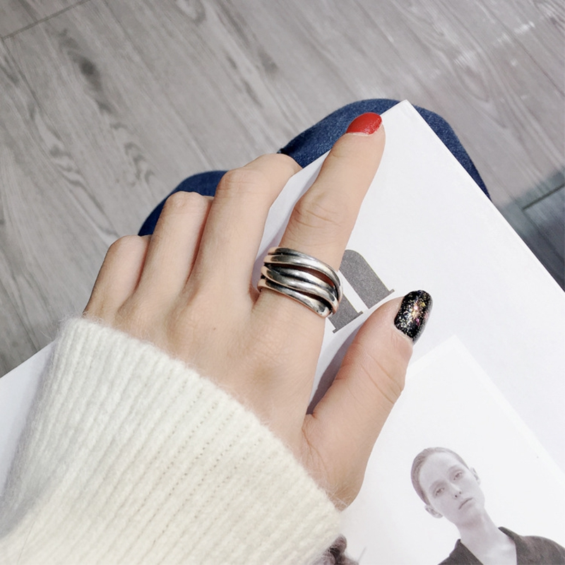 Silvology 925 Sterling Silver Multilayer Cross Line Wide Rings Retro Irregular Thick Korea Rings For Women High Quality Jewelry