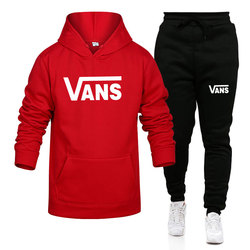 Vans-Autumn and Winter New Men And Women Hoodie Tracksuit Sweatshirt With Long Sleeves+Sweatpants Fashion Jogging Two Pieces