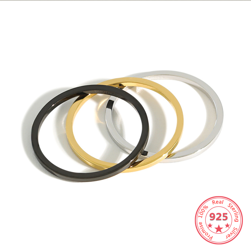 925 Sterling Silver Gold Black Anti-allergy Smooth Simple Wedding Couples Rings Bijouterie for Man Woman Engagement Ring Gift(China)