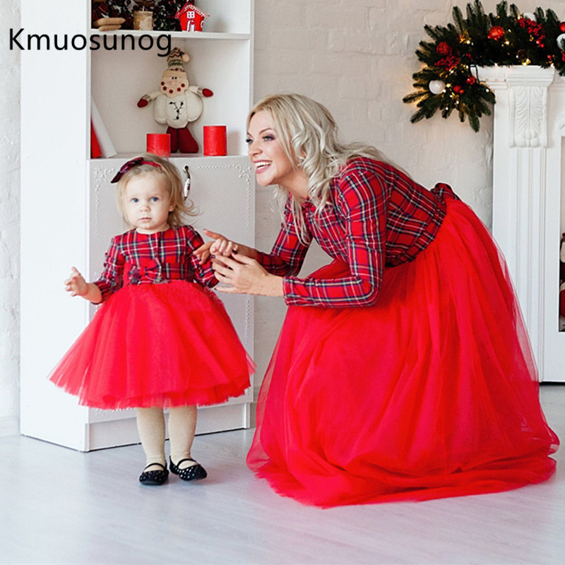 Christmas Mother Daughter Dresses Mommy And Me Family Matching Clothes Plaid Mom Dress Kids Child Outfits H0957