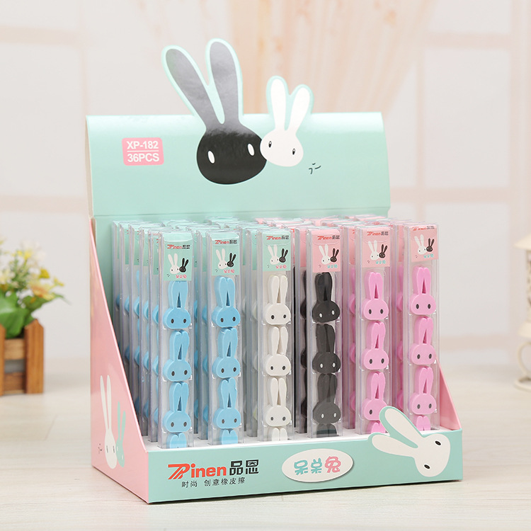 Pin En Stationery Rabbit Rubber Eraser Boxed Manufacturers Direct Selling Creative Rubber Eraser Customizable Logo Special Offer