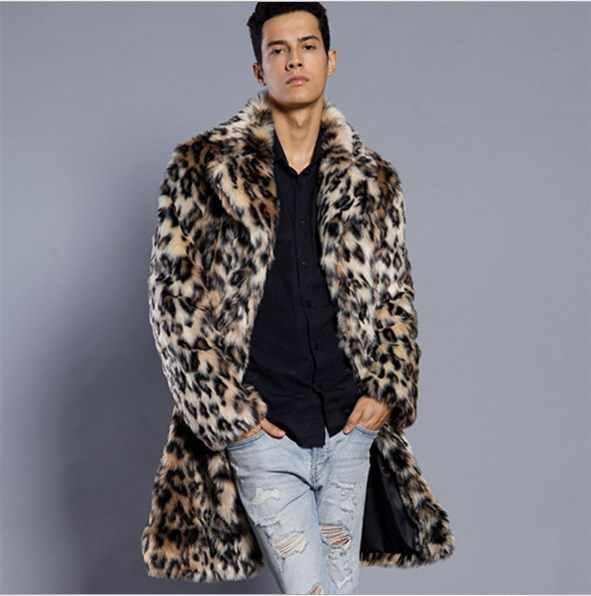 S-6XL размера плюс длинные пальто для мужчин 2020 новые зимние пальто Роскошные свободные пушистые пальто из искусственного меха с леопардовым принтом верхняя одежда FW136