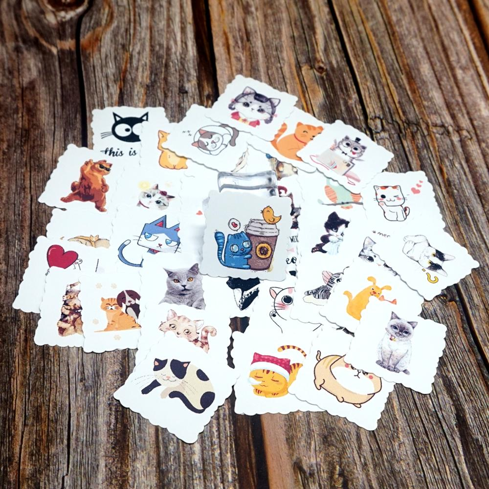 35pcs Cartoon Cat Waterproof Stickers DIY Decoration Diary Stationery Stickers Children Students Gift Laptop Luggage Stickers