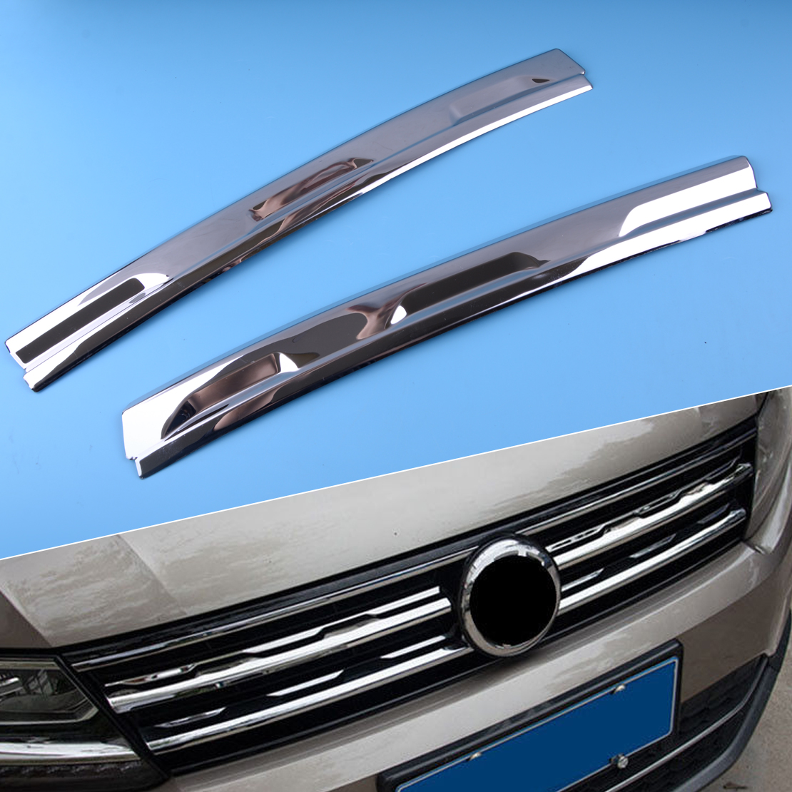 DWCX Silver Stainless Steel Front Mesh Grill Grille Cover Trim Molding Garnish fit for <font><b>Volkswagen</b></font> <font><b>Tiguan</b></font> MK2 2016 2017 2018 <font><b>2019</b></font> image