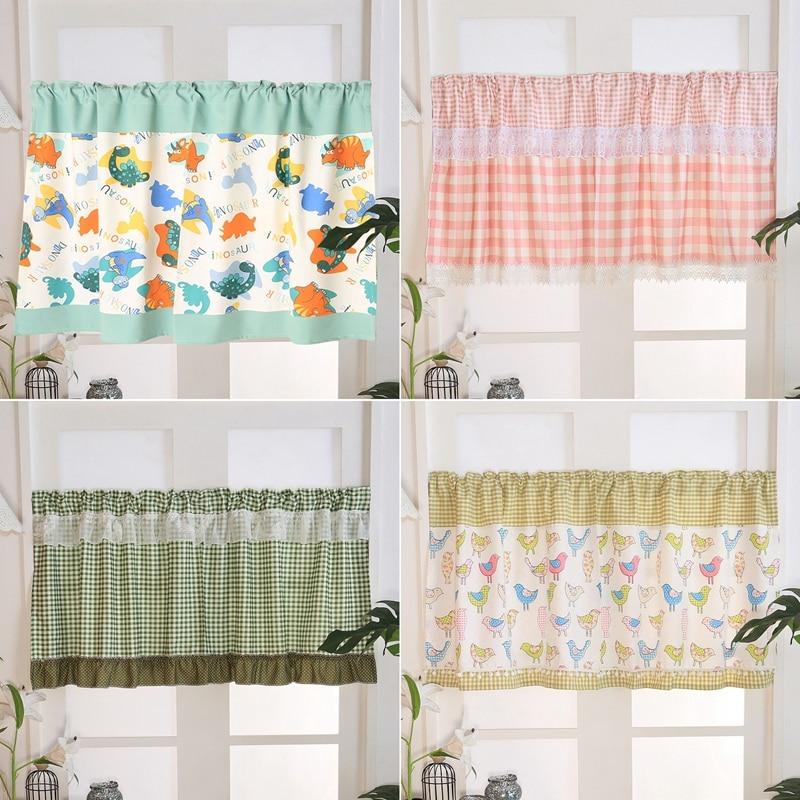 Rod Pocket Short Curtains Cartoon Half Curtain for Kitchen Cabinet Door Dust Panel Drapes Cafe Bar Decorative Bay Window Curtain