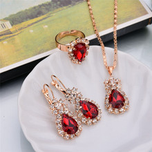 цена на Europe and America water drop color rhinestone wedding necklace necklace earrings ring set high-end romantic bridal jewelry