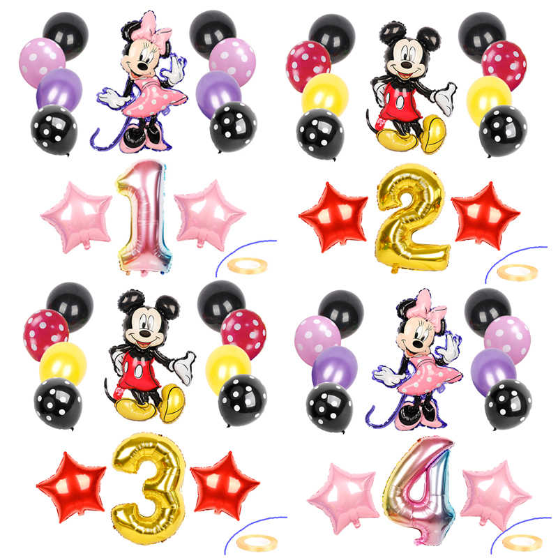 13 Pcs Mickey Mouse Folie Ballonnen Minnie Mouse Verjaardagsfeestje Decoraties Kids Baby Douche 32 Inch Nummer Bal Polka Dot latex Speelgoed