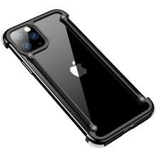 Aranha pára choques caso para iphone 11 pro max x xr xs iphone11 marca de luxo metal alumínio à prova choque moldura capa acessórios do telefone