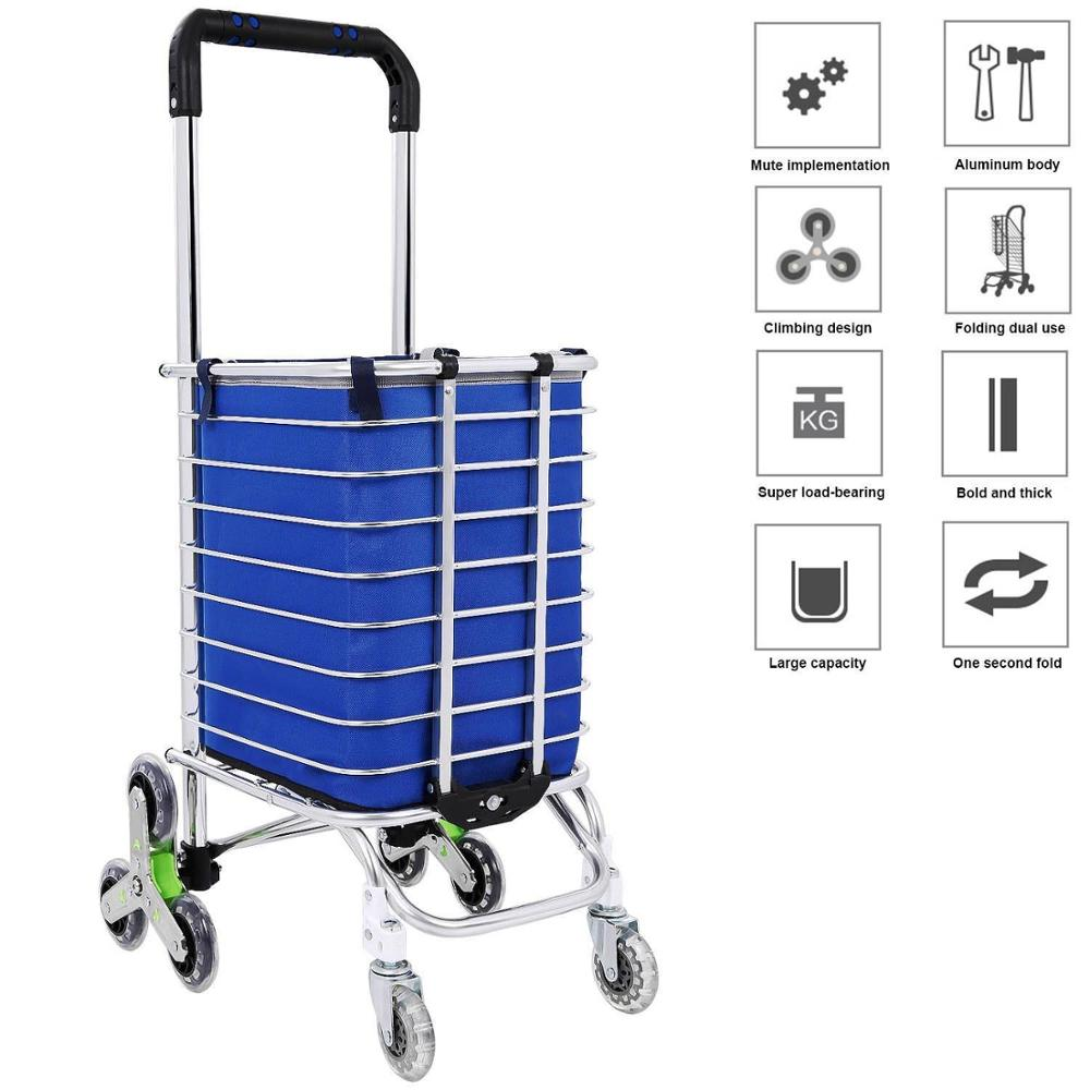 E-FOUR Folding Shopping Cart Stair Climbing Cart Grocery Laundry Utility Cart With Wheel Bearings Holds Up To 176 Lbs Blue Color
