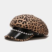 2020 Leopard print bead Octagonal Hats for women and girl Berets Painter hat Beanie cap 16
