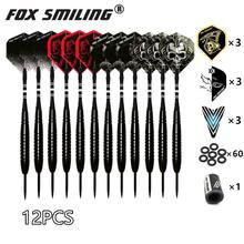 Fox Smiling – Fléchettes à pointe en acier avec tige en nylon, aluminium,avec 9 pièces de vol, 60 d'anneau en caoutchouc, 1 d'affûteur, 12, 18/22/23 g,