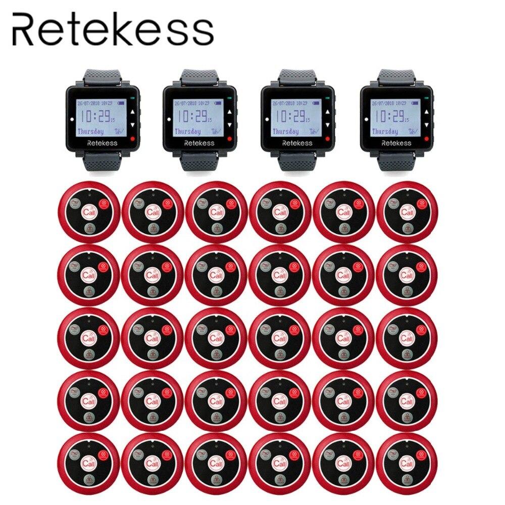 RETEKESS Restaurant serveur système d'appel sans fil Table Bell téléavertisseurs 4 regarder récepteur + 30 bouton d'appel Service à la clientèle avertisseurs