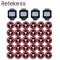 RETEKESS Restaurante Camarero sistema de llamadas inalámbrico campana de Mesa 4 receptor de reloj + 30 botones de llamada atención al cliente Beepers