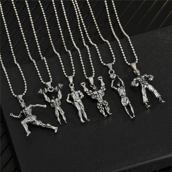 1PC Punk Hiphop Athlete Hercules Pendant Necklace For Men Women Vintage Creative Rock Dumbbells Sportman Choker Jewelry N127 image