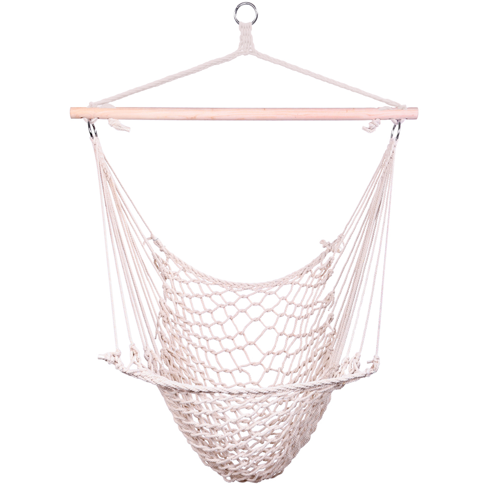 New Cotton Hanging Rope Air/Sky Chair Swing Beige Lightweight And Convenient To Carry Comfy Cradle Chair