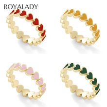 Fashion Simple Heart Surround Stack Rings For Women Boho Red Green Blue Engagement Wedding Finger Rings Female Love Jewelry Gift hollow heart rings for women female micro pave engagement wedding knuckle finger ring fashion jewelry z4p900